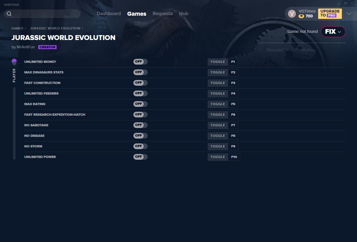 Jurassic World Evolution: Trainer (+10) from 01/06/2021 [WeMod]