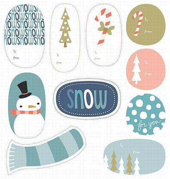 cute wintry theme printable Christmas gift tags for free