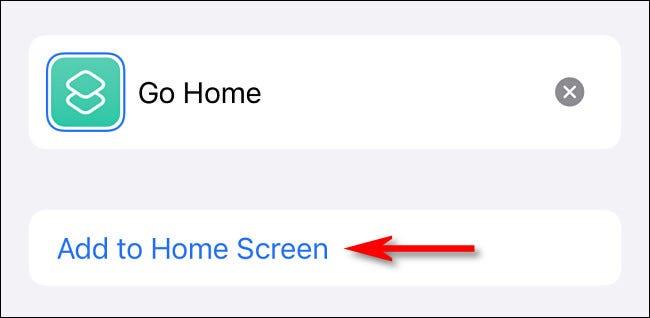 """في الاختصارات ، انقر على """"إضافة إلى الشاشة الرئيسية""""."""