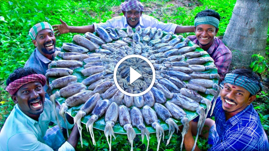 SQUID FISH FRY | Delicious Seafood Recipe Cooking and Eating in Village | Tawa Fried Calamari Recipe