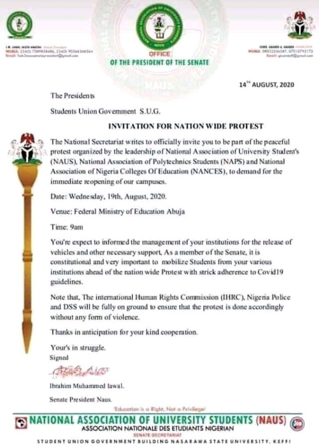 SUG. Nigerian Students calls for National protest to demand immediate reopenning of schools