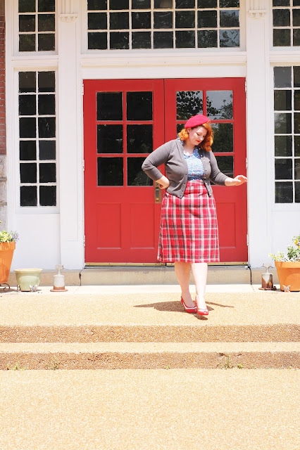 vintage inspired red plaid skirt outfit with beret at a vintage school house with va-voom vintage