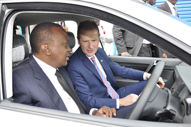 Image Attribute: Kenya's President Uhuru Kenyatta and Volkswagen CEO Dr. Herbert Diess officially open vehicle production facility in Kenya with first locally produced Polo Vivo. /  DB2016AL02265