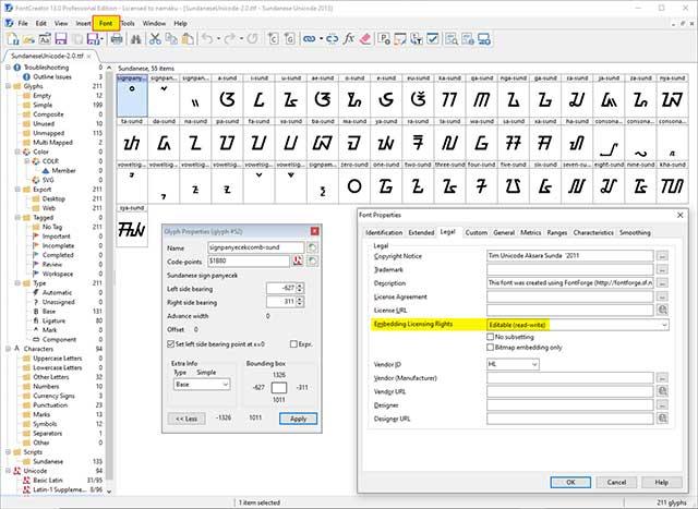 lisensi font