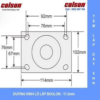 kích thước mặt bích bánh xe cao su đặc xoay phi 150 Colson chịu lực 270kg www.banhxepu.net