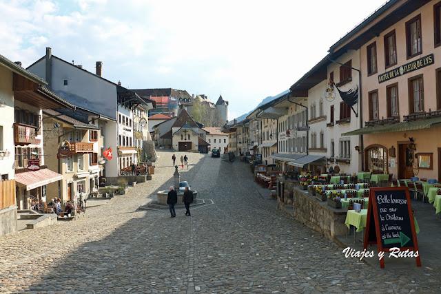 Rue du Burg, Gruyeres vista general hacia el castillo
