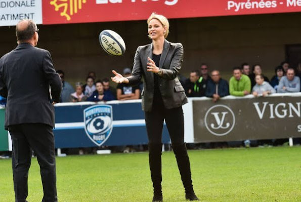 Princess Charlene was invited to rugby match by Montpellier rugby club's president Mohed Altrad, and vice president Jean-Luc Meissonnier
