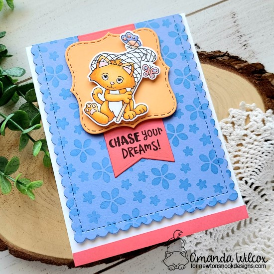 Chase Your Dreams Cat and Butterly card by Amanda Wilcox | Captivated Kittens Stamp Set, Petite Flowers Stencil, Frames Squared Die Set, and Frames & Flags Die Set by Newton's Nook Designs #newtonsnook
