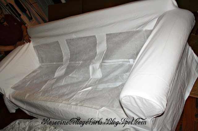 Putting on the slip covers on the Ikea Couch | Ikea Couch Review | Rosevinecottagegirls.com