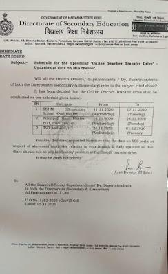 DSE Haryana Teacher Transfer Drive JBT, TGT, PGT