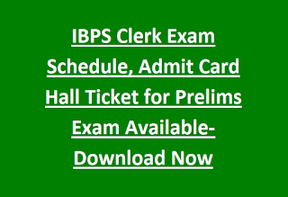 IBPS Clerk Exam Schedule, Admit Card Hall Ticket for Prelims Exam Available-Download Now-IBPS Clerk Exam Pattern