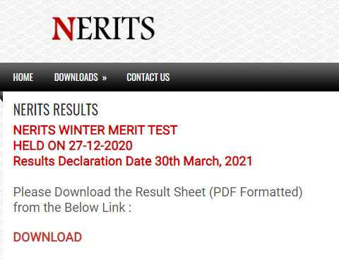 NERITS Result 2021