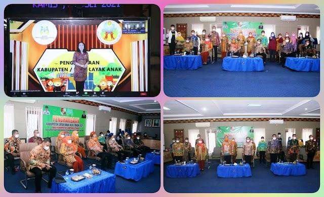 Kabupaten Lampung Utara Raih  Peringkat Pertama dalam Penghargaan Kabupaten/Kota Layak Anak (KLA) Tahun 2021