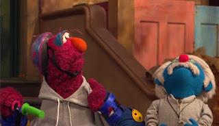 Coach Pogolyi tries to help Telly for Pogo Games. Sesame Street Episode 4421, The Pogo Games, Season 44.