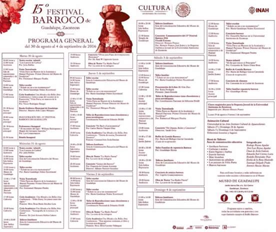 programa festival barroco 2016 Zacatecas