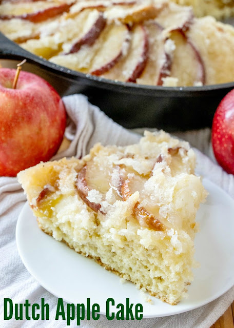 This dutch apple cake recipe has been in my family for generations. It is a simple cake topped with apples and plenty of golden topping. It is great as a coffee cake at breakfast, for an afternoon treat or as a simple dessert. You can take it straight from my great-great grandma's recipe box and put it into yours!
