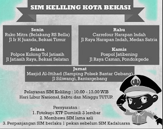 Lokasi Dan Jadwal SIM Keliling Bekasi Jawa Barat