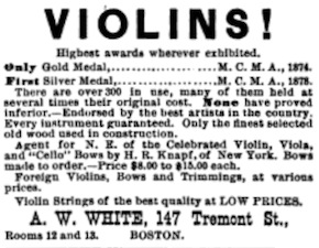 A. W. White, 147 Tremont Stret Ad