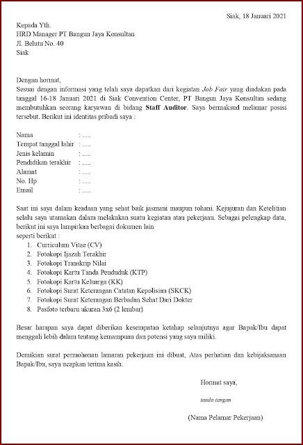 Contoh Application Letter Untuk Staff Auditor (Fresh Graduate) Berdasarkan Informasi Dari Job Fair