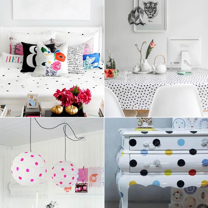 Complementi d'arredo ed accessori casa decorati con pois