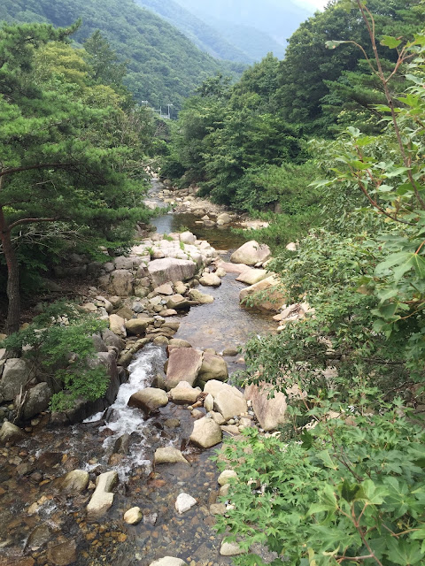 Quiet mountain stream near Miryang, South Korea. Very cool waters, even in summer!
