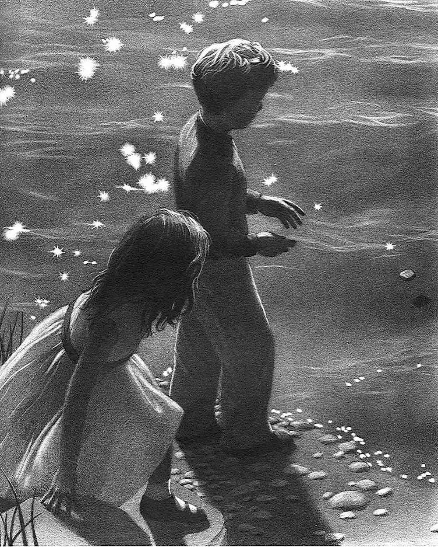 a Chris Van Allsburg book illustration of children at the beach skipping a stone