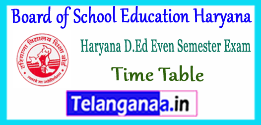 Board of School Education Haryana D.Ed JBT 2nd 4th Semester Time Table 2018