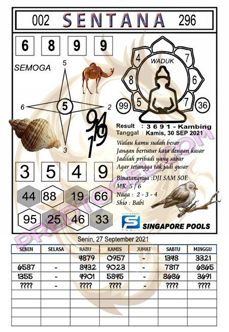 Syair Sentana Singapura Kamis 30-Sep-2021