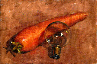 Oil painting of a carrot and a round light bulb on a wooden surface.