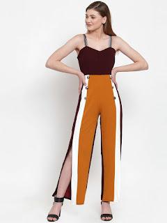 women-burgundy-brown-colourblocked-basic-jumpsuit