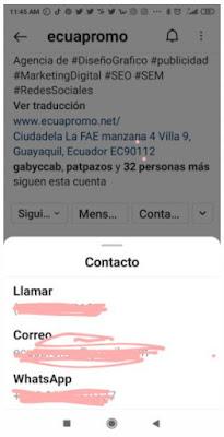 """Ahora cuando tus seguidores le den clic a la opción """"Contacto"""" de tu perfil, se les desplegará las opciones incluyendo el Whatsapp."""