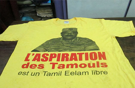 T-shirt with Velupillai Prabhakaran' image printed Found in kandy