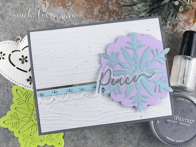 This pretty color combo lend to the chilly, wintery, feel of this card.  Created using Fun Stampers Journey Snow Bloom Die Set, and the Holiday Script Stamp and Die Bundle.
