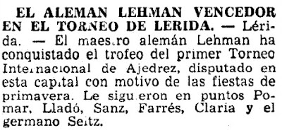 I Torneo Internacional de Lleida 1963, La Vanguardia, 16/5/1963