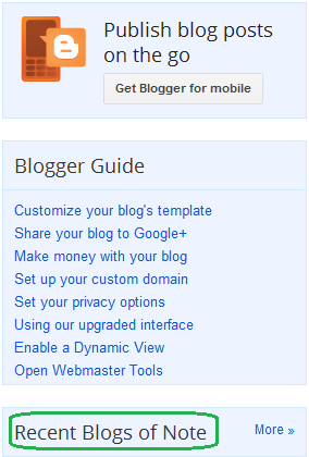 What is Blogs of Note in Blogger About - Quick Information