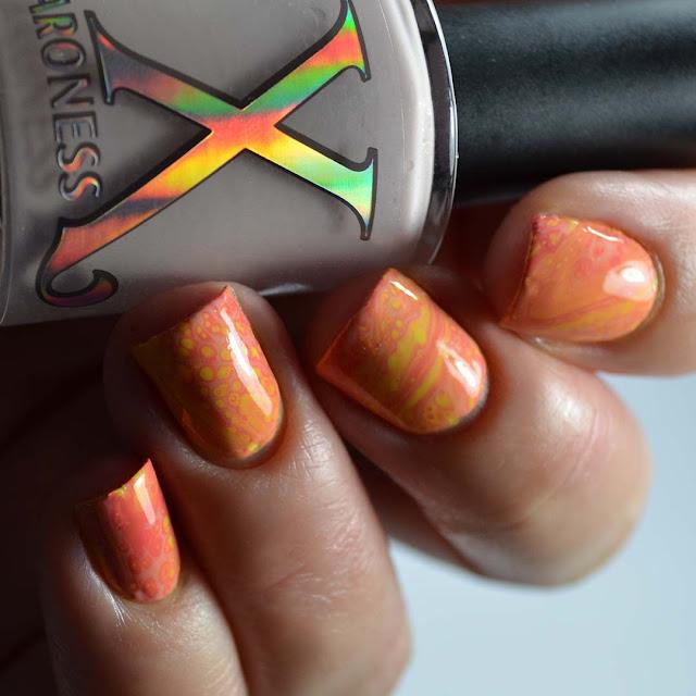 peach shimmer fluid art nail polish swatch