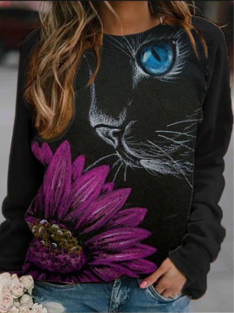 Fashion Cat Flower Round Neck Sweater