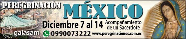 PEREGRINACIÓN A MÉXICO. Del 7 al 14 de diciembre del 2018.