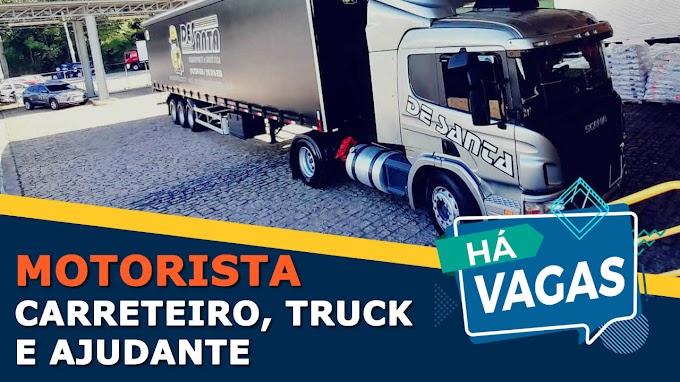 De Santa Transportes abre vagas para Motorista Truck, Carreteiro e Ajudante