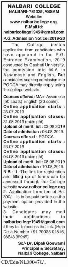 Nalbari College Jobs