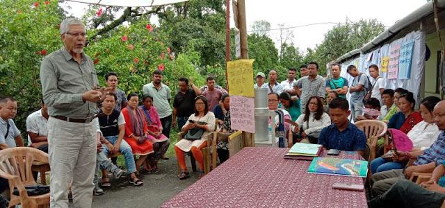 Ex MLA NB Chhetri addressing Cinchona Helper Association pen down strike