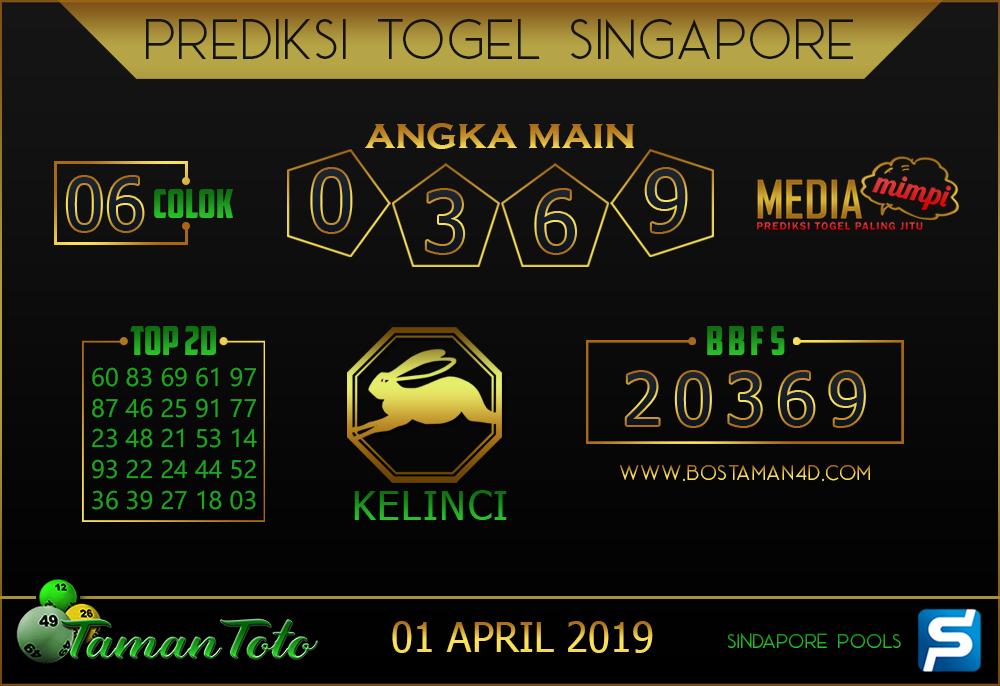 Prediksi Togel SINGAPORE TAMAN TOTO 01 APRIL 2019