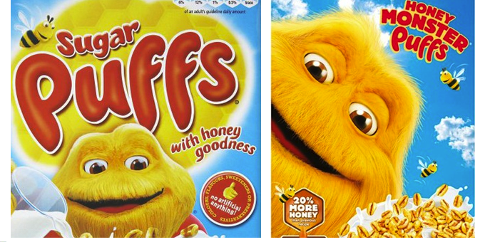 Image result for honey monster puffs vs sugar puffs