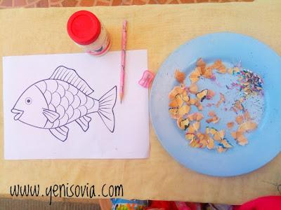 kegiatan anak usia dini, membuat sisik ikan
