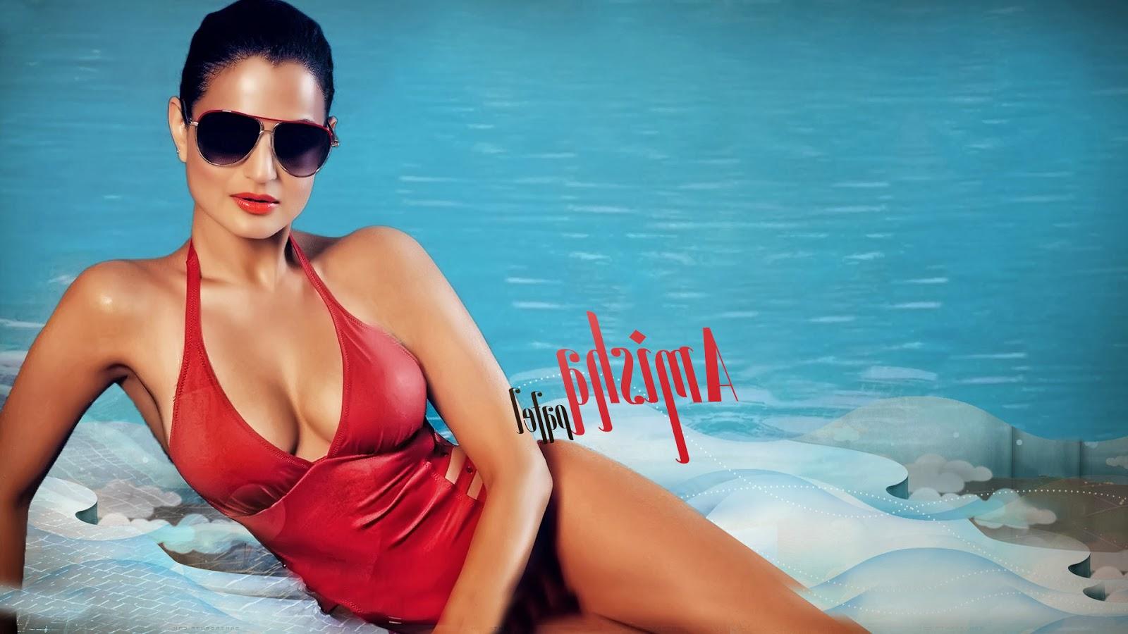 Hot Infotainment Pictures Amisha Patel Red Bikini Hot Photos-7015