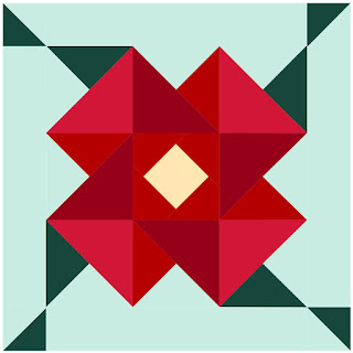 kona red solids make a poinsettia block on a mint background by QuiltFabrication
