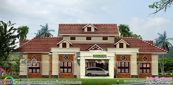 4 bedroom sloping roof house rendering