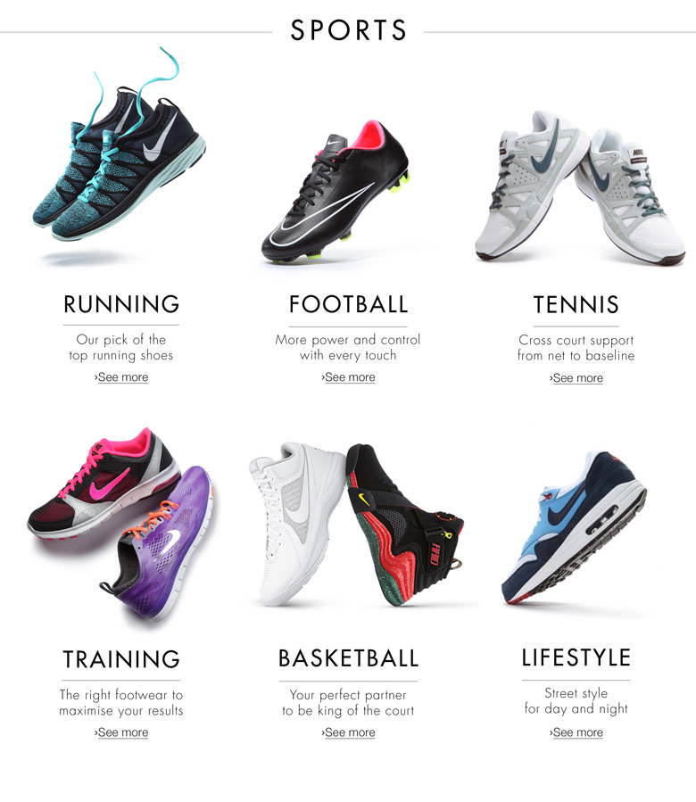 the best attitude 837f2 5d982 Shoes  Running, basketball, training, tennis, lifestyle, football, walking,  basketball and sandals (See image below).