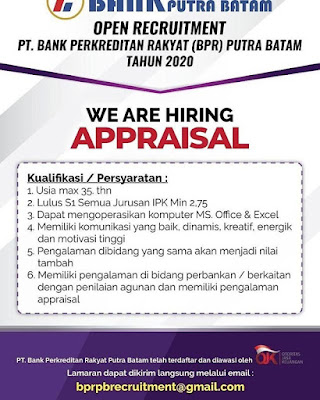 Kerjabatam.com PENGUMUMAN RESMI LOKER PT. Bank Perkreditan Rakyat (BPR) Putra Batam