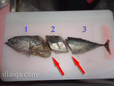 potong ikan menjadi bagian kecil